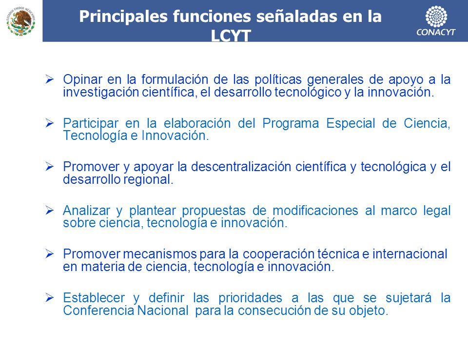 Principales funciones señaladas en la LCYT