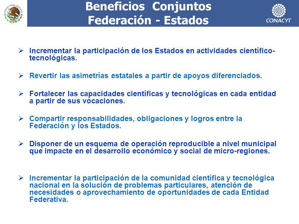 Beneficios Conjuntos Federación - Estados