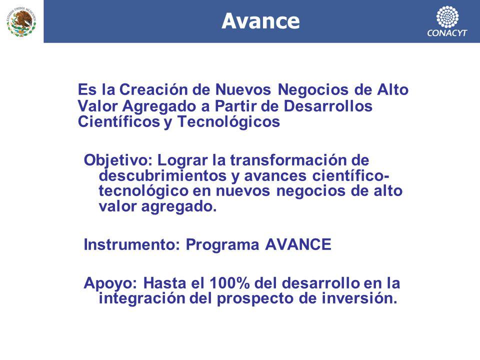 Avance Es la Creación de Nuevos Negocios de Alto Valor Agregado a Partir de Desarrollos Científicos y Tecnológicos.