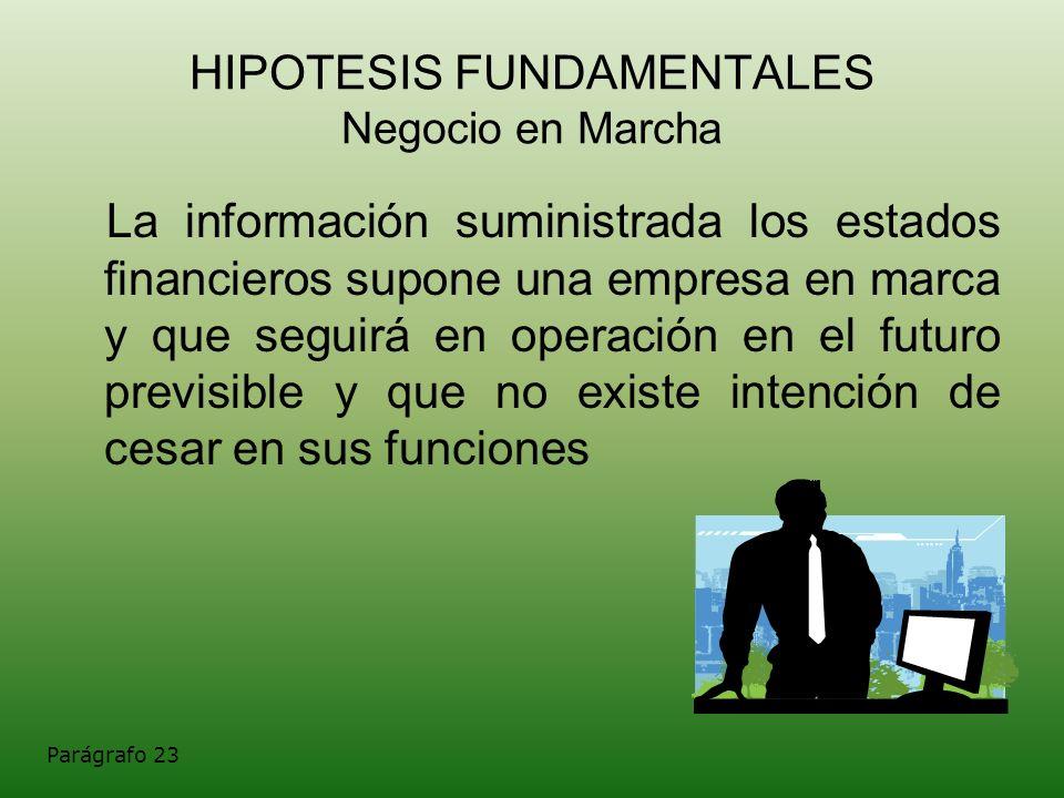 HIPOTESIS FUNDAMENTALES Negocio en Marcha