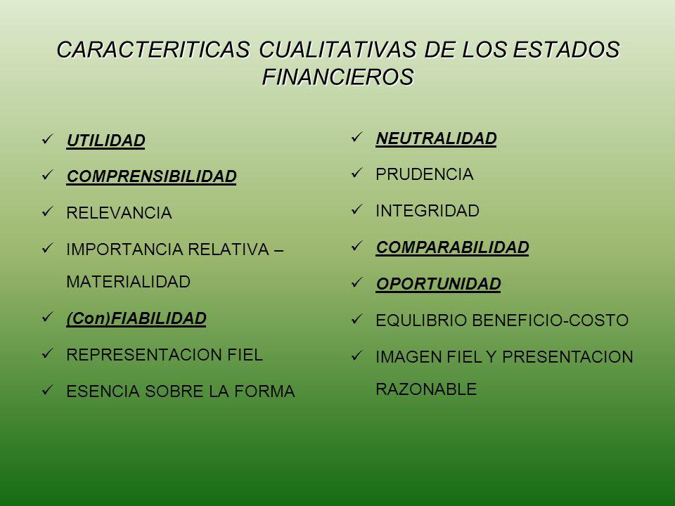CARACTERITICAS CUALITATIVAS DE LOS ESTADOS FINANCIEROS