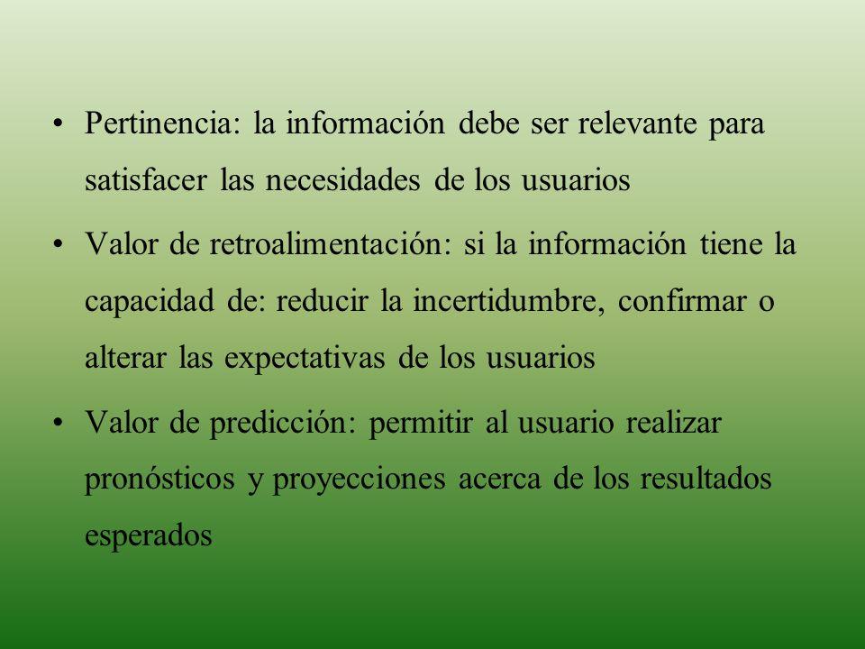 MARCO CONCEPTUAL Pertinencia: la información debe ser relevante para satisfacer las necesidades de los usuarios.