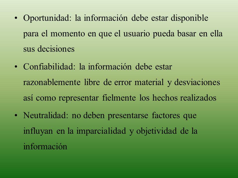 MARCO CONCEPTUAL Oportunidad: la información debe estar disponible para el momento en que el usuario pueda basar en ella sus decisiones.