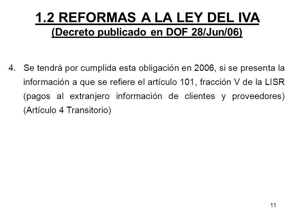 1.2 REFORMAS A LA LEY DEL IVA (Decreto publicado en DOF 28/Jun/06)