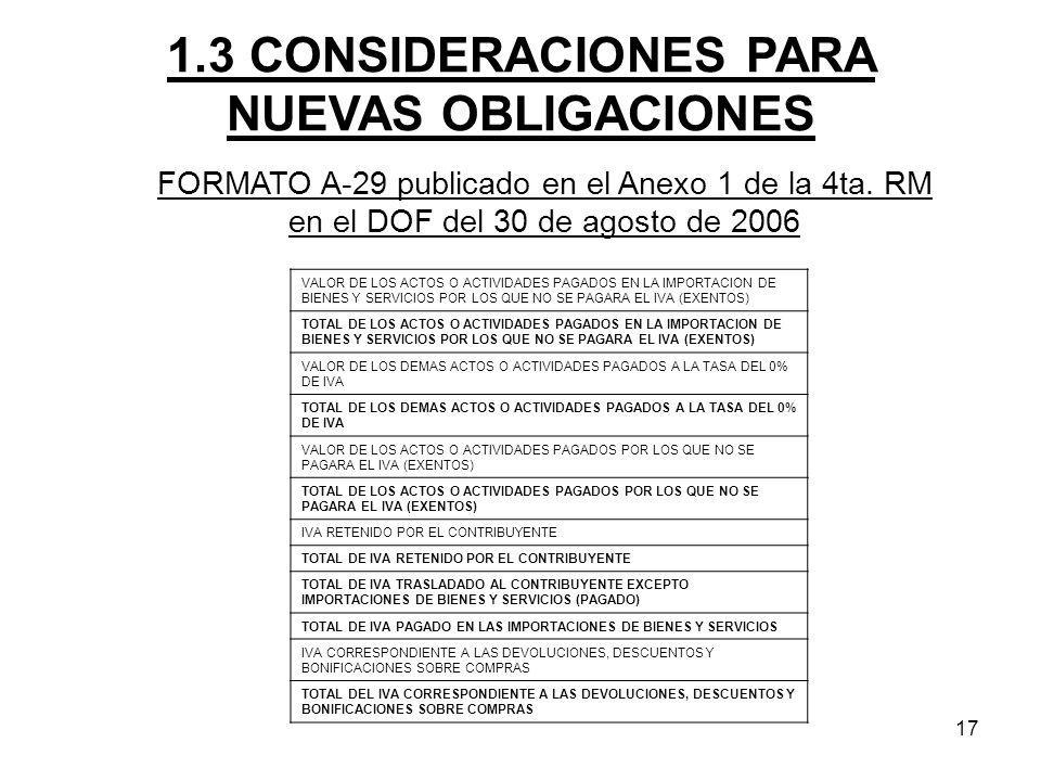 1.3 CONSIDERACIONES PARA NUEVAS OBLIGACIONES