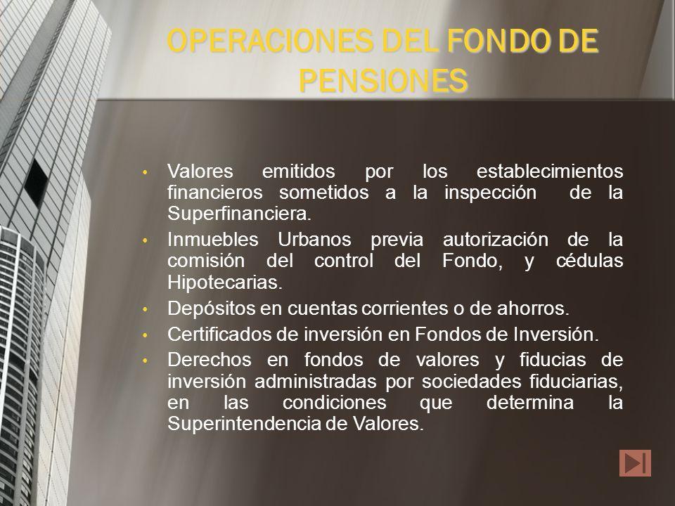OPERACIONES DEL FONDO DE PENSIONES