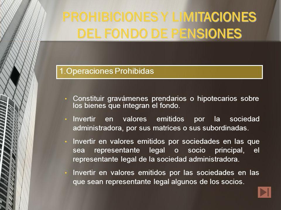 PROHIBICIONES Y LIMITACIONES DEL FONDO DE PENSIONES