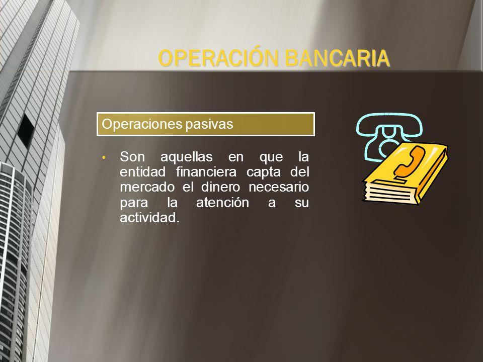 OPERACIÓN BANCARIA Operaciones pasivas