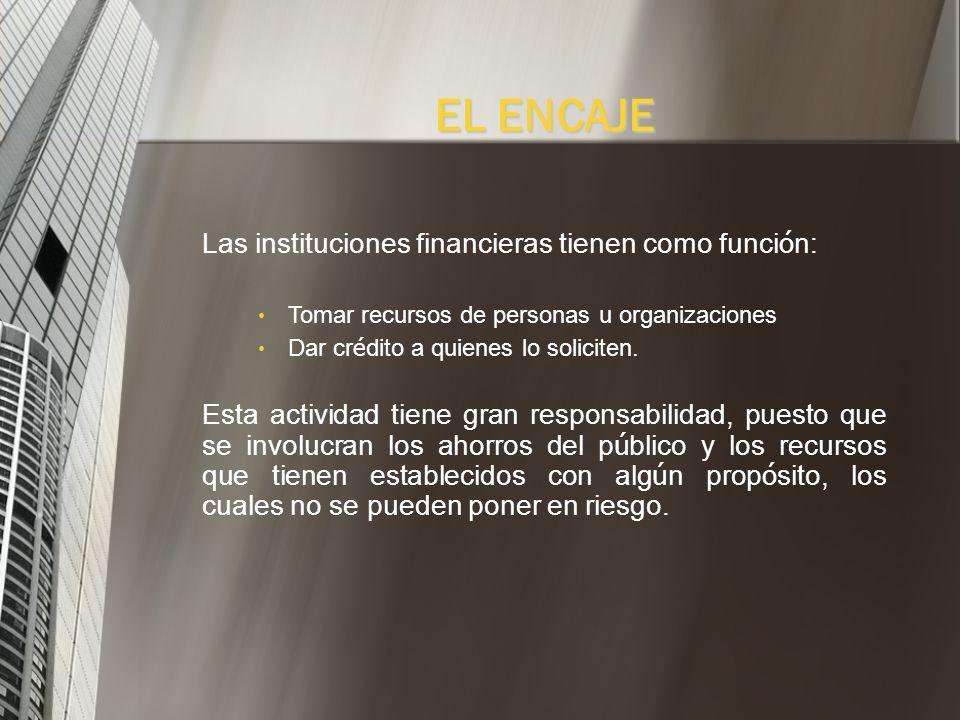 EL ENCAJE Las instituciones financieras tienen como función: