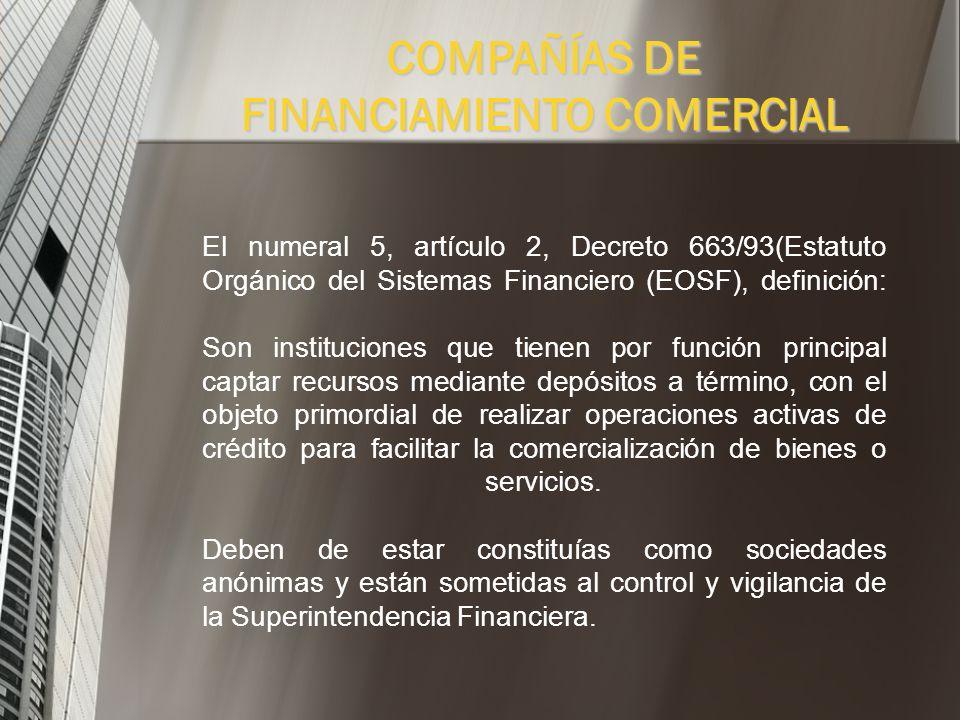 COMPAÑÍAS DE FINANCIAMIENTO COMERCIAL