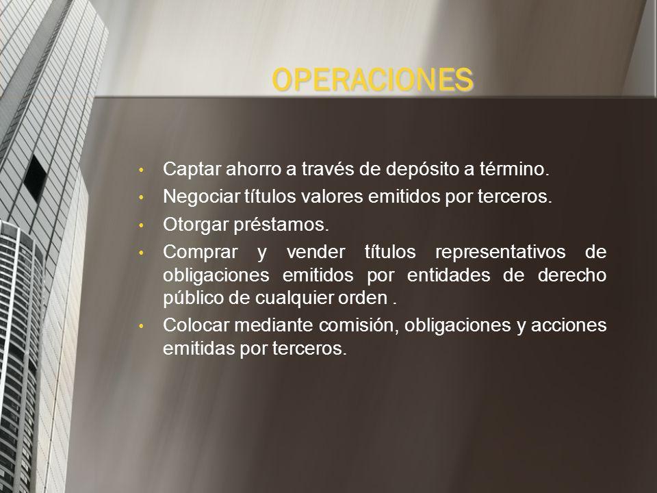 OPERACIONES Captar ahorro a través de depósito a término.