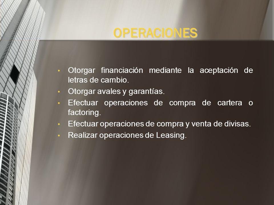 OPERACIONESOtorgar financiación mediante la aceptación de letras de cambio. Otorgar avales y garantías.