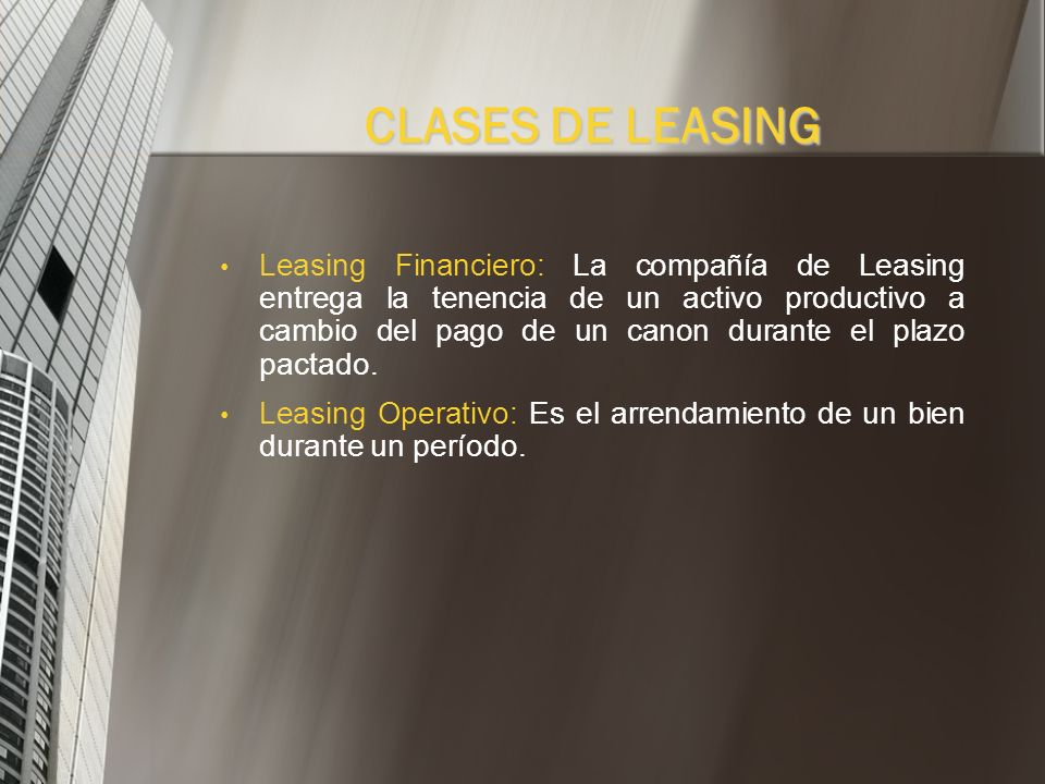 CLASES DE LEASING