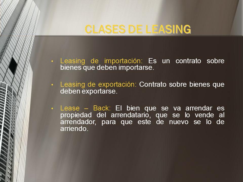 CLASES DE LEASINGLeasing de importación: Es un contrato sobre bienes que deben importarse.