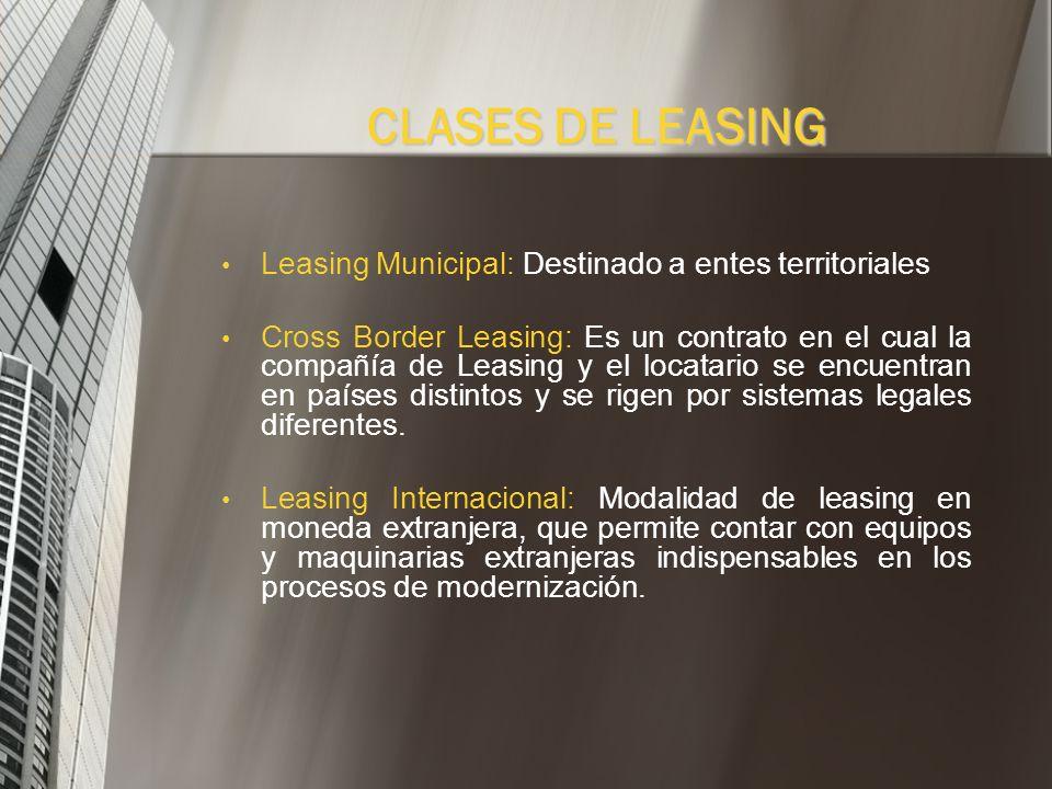 CLASES DE LEASING Leasing Municipal: Destinado a entes territoriales