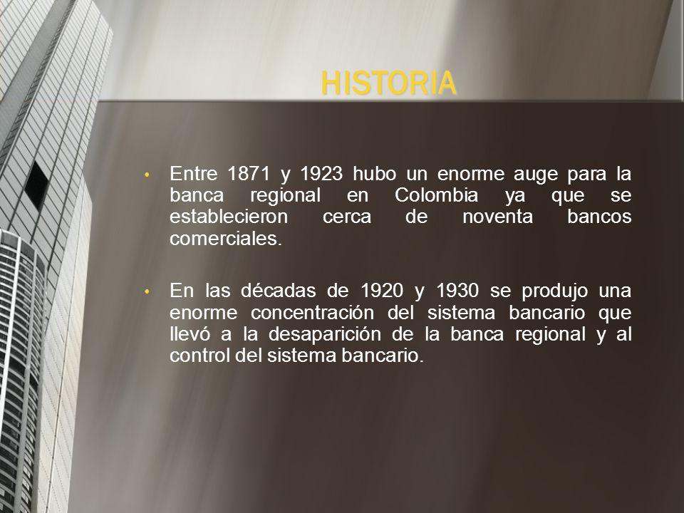 HISTORIAEntre 1871 y 1923 hubo un enorme auge para la banca regional en Colombia ya que se establecieron cerca de noventa bancos comerciales.