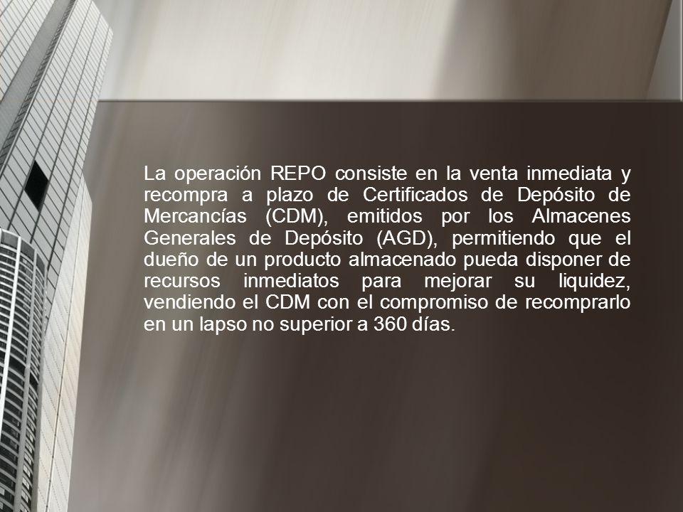 La operación REPO consiste en la venta inmediata y recompra a plazo de Certificados de Depósito de Mercancías (CDM), emitidos por los Almacenes Generales de Depósito (AGD), permitiendo que el dueño de un producto almacenado pueda disponer de recursos inmediatos para mejorar su liquidez, vendiendo el CDM con el compromiso de recomprarlo en un lapso no superior a 360 días.