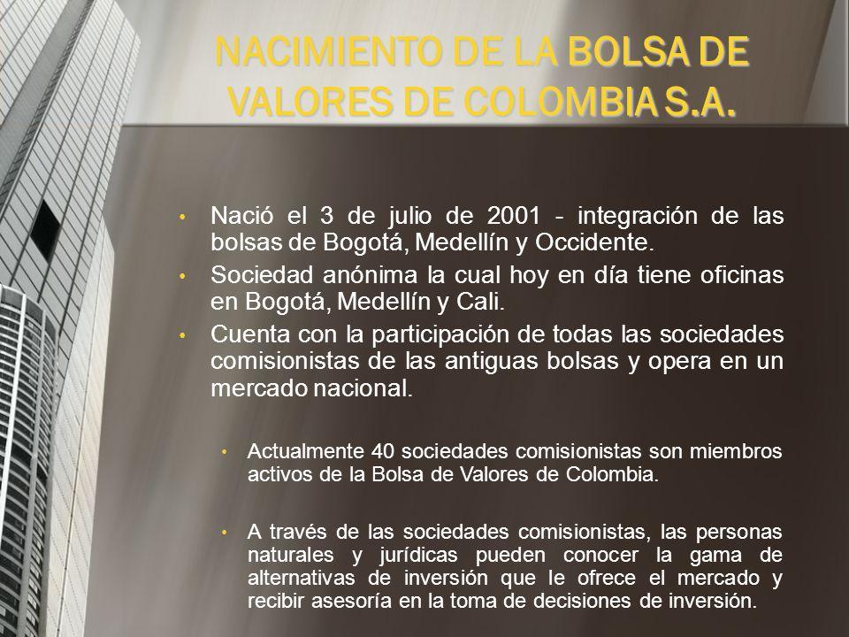 NACIMIENTO DE LA BOLSA DE VALORES DE COLOMBIA S.A.