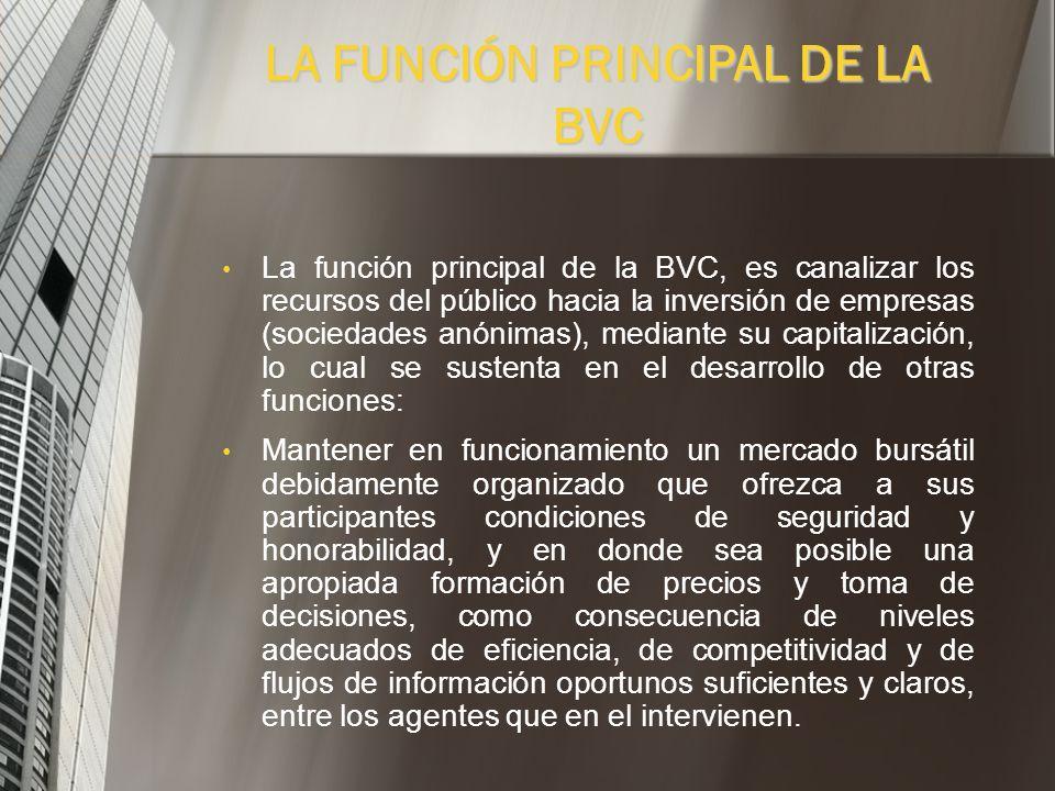 LA FUNCIÓN PRINCIPAL DE LA BVC