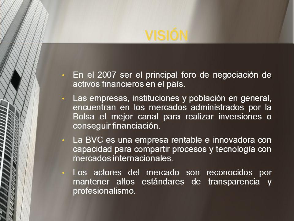 VISIÓN En el 2007 ser el principal foro de negociación de activos financieros en el país.