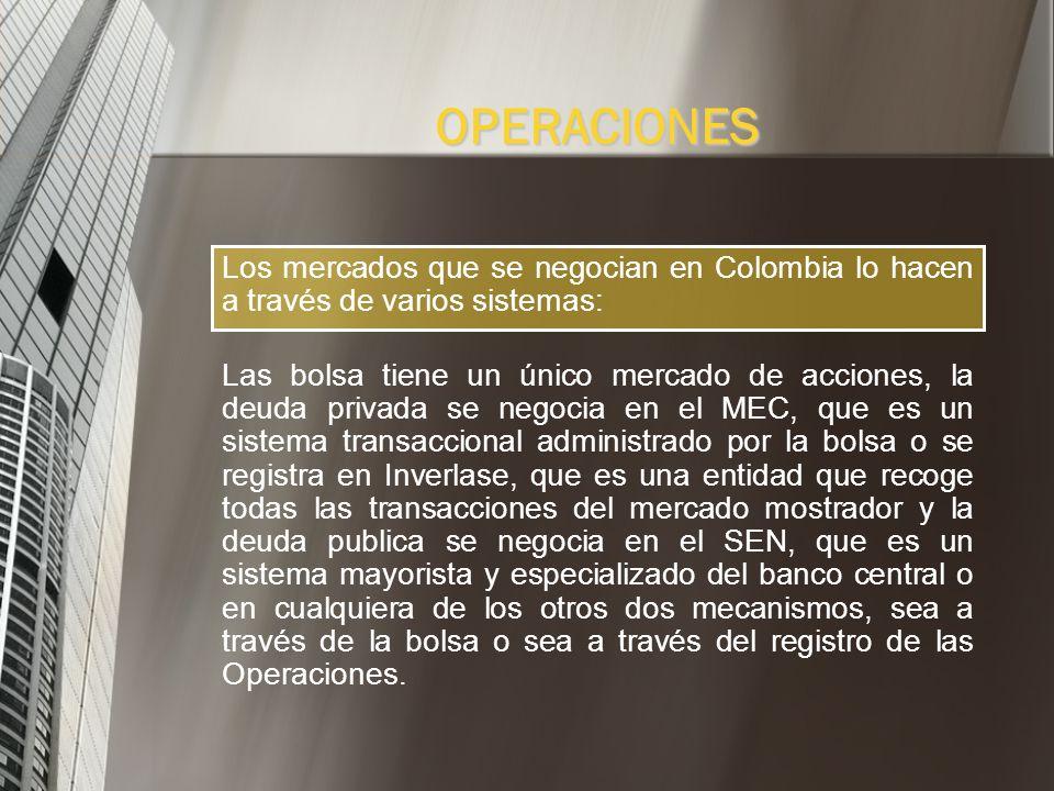 OPERACIONESLos mercados que se negocian en Colombia lo hacen a través de varios sistemas: