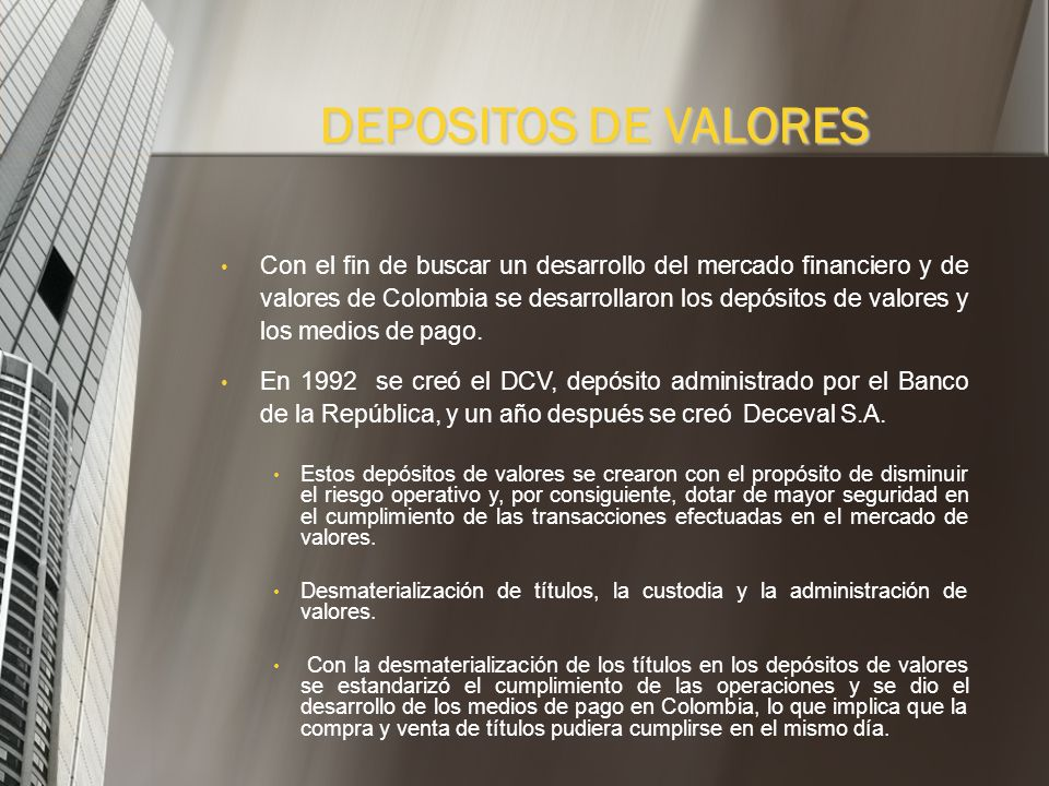DEPOSITOS DE VALORES