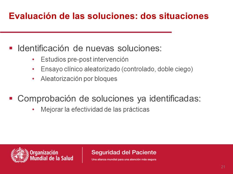 Evaluación de las soluciones: dos situaciones