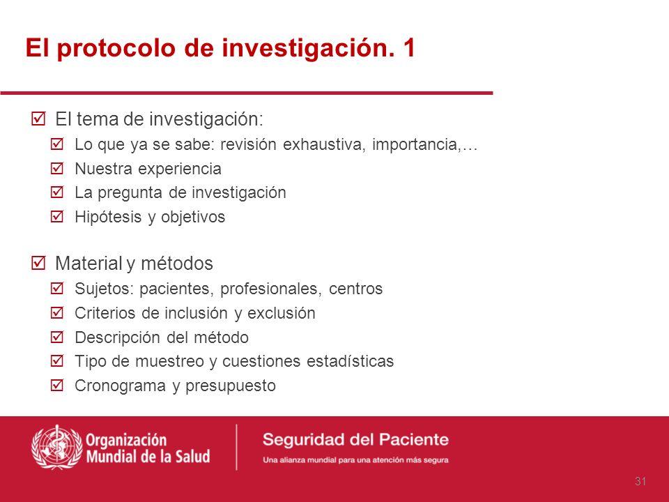 El protocolo de investigación. 1