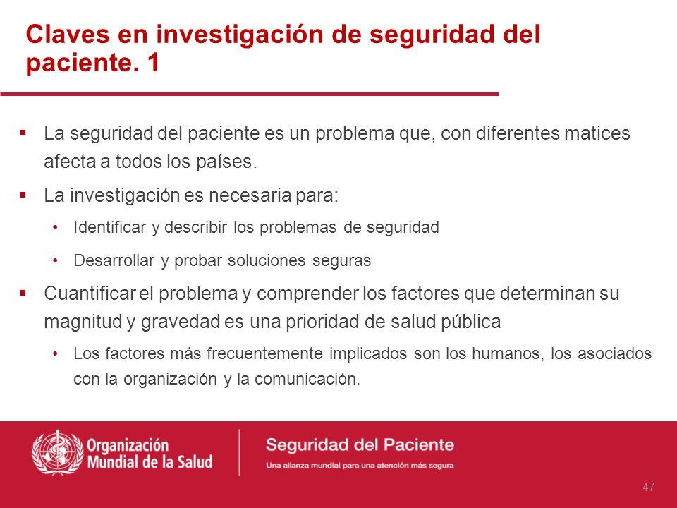 Claves en investigación de seguridad del paciente. 1