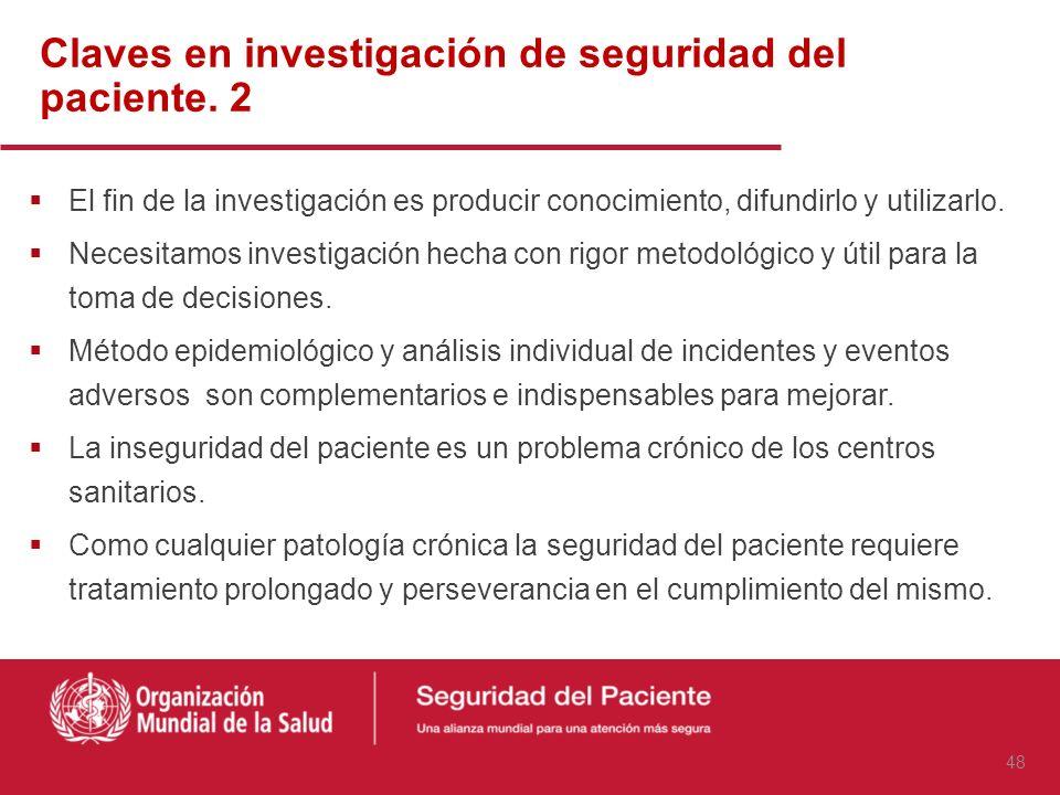 Claves en investigación de seguridad del paciente. 2