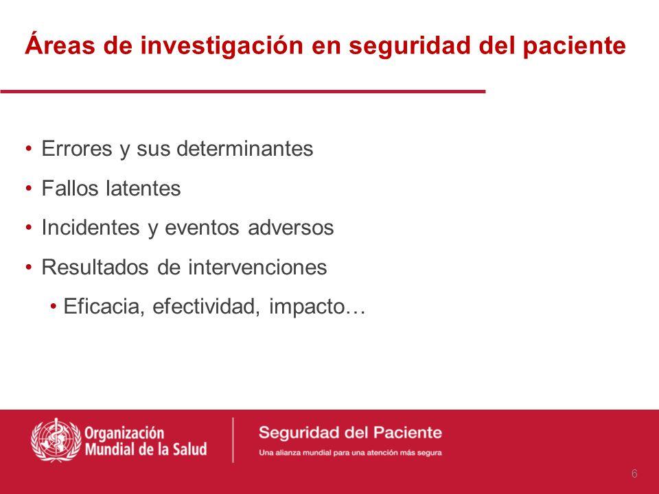 Áreas de investigación en seguridad del paciente