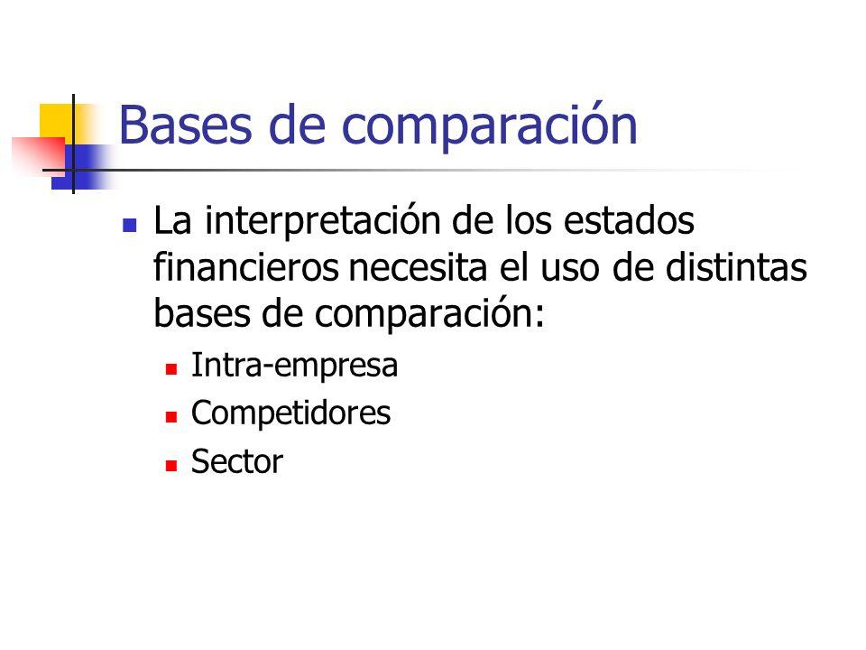 Bases de comparaciónLa interpretación de los estados financieros necesita el uso de distintas bases de comparación: