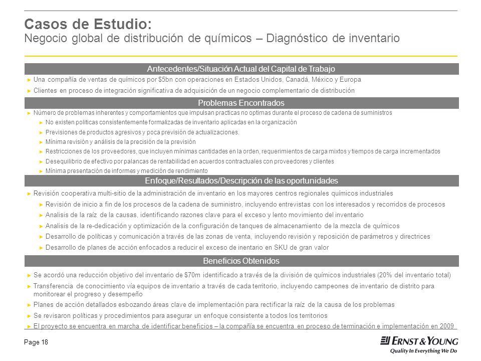 10 Casos de Estudio: Negocio global de distribución de químicos – Diagnóstico de inventario. Antecedentes/Situación Actual del Capital de Trabajo.