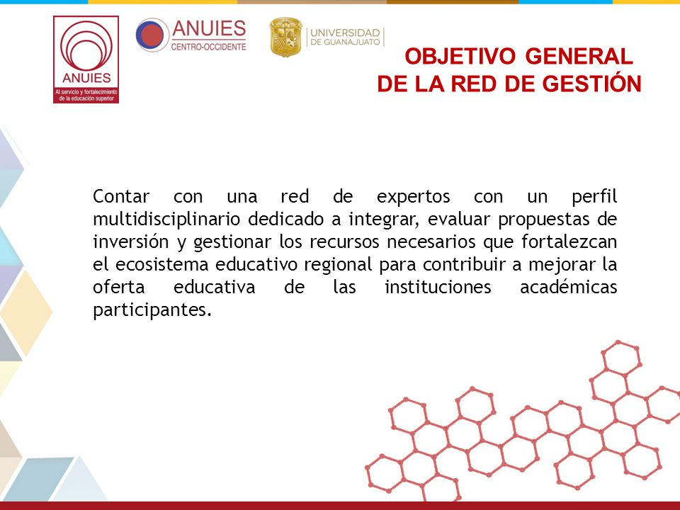 OBJETIVO GENERAL DE LA RED DE GESTIÓN
