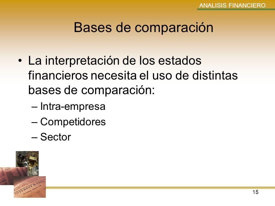 ANALISIS FINANCIERO Bases de comparación. La interpretación de los estados financieros necesita el uso de distintas bases de comparación: