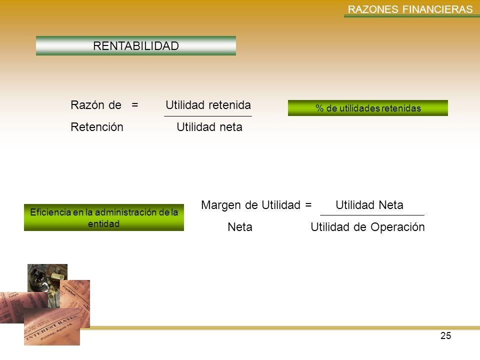 Razón de = Utilidad retenida Retención Utilidad neta