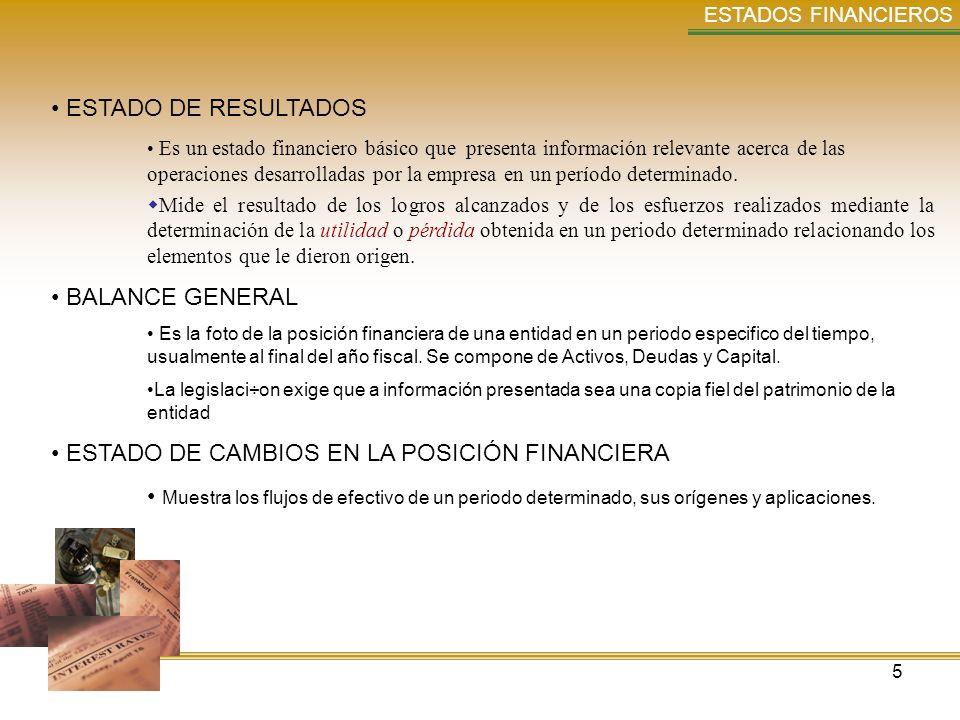 ESTADO DE CAMBIOS EN LA POSICIÓN FINANCIERA