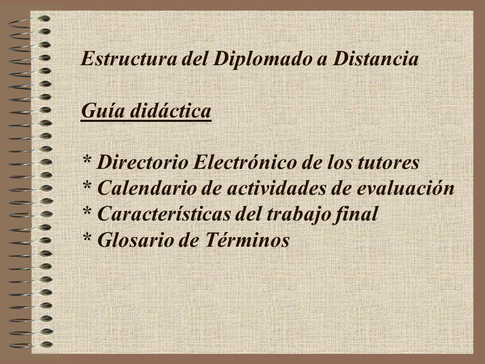 Estructura del Diplomado a Distancia Guía didáctica