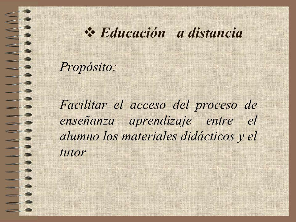 Educación a distancia Propósito: