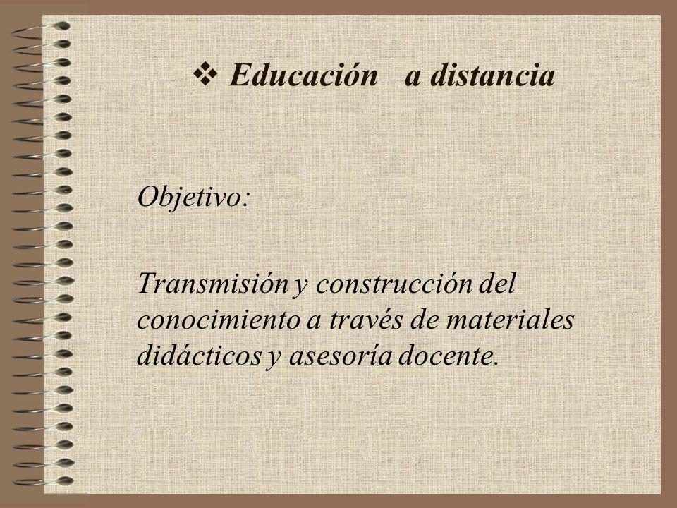 Educación a distancia Objetivo: