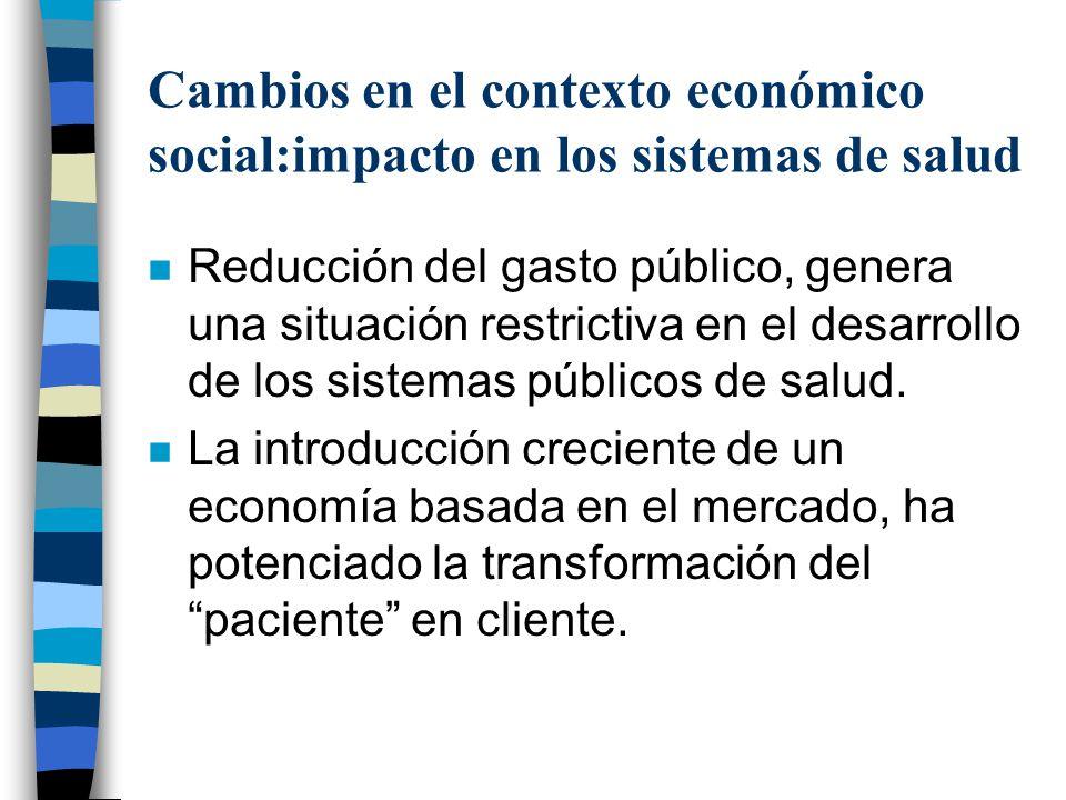 Cambios en el contexto económico social:impacto en los sistemas de salud
