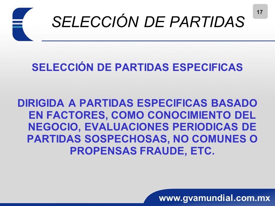 SELECCIÓN DE PARTIDAS ESPECIFICAS