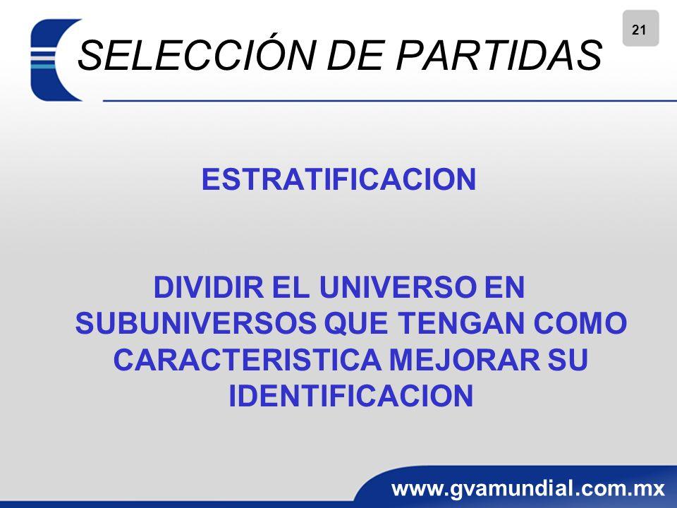 SELECCIÓN DE PARTIDAS ESTRATIFICACION