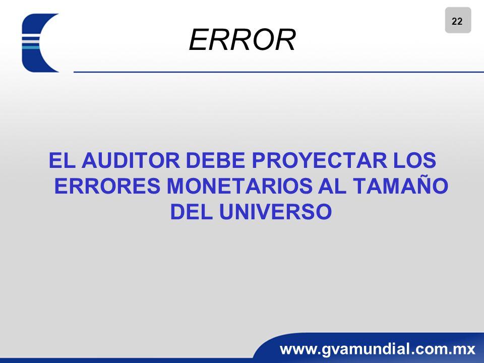 ERROR EL AUDITOR DEBE PROYECTAR LOS ERRORES MONETARIOS AL TAMAÑO DEL UNIVERSO 22