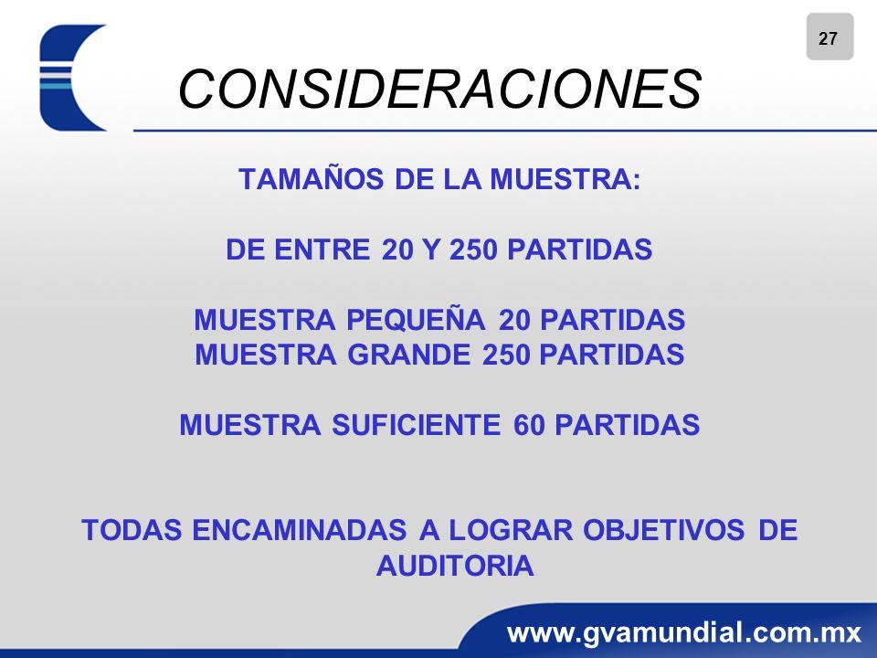 CONSIDERACIONES TAMAÑOS DE LA MUESTRA: DE ENTRE 20 Y 250 PARTIDAS