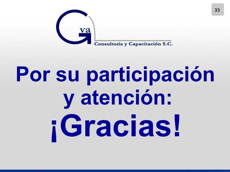 Por su participación y atención: ¡Gracias!