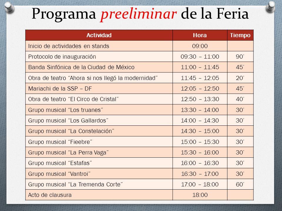 Programa preeliminar de la Feria
