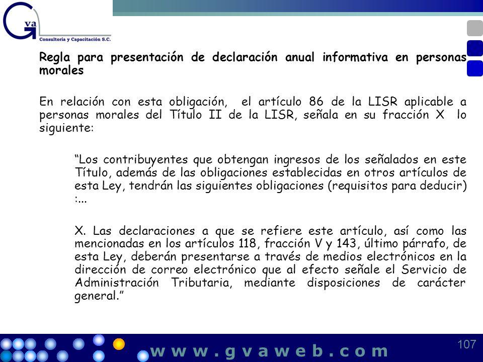 Regla para presentación de declaración anual informativa en personas morales