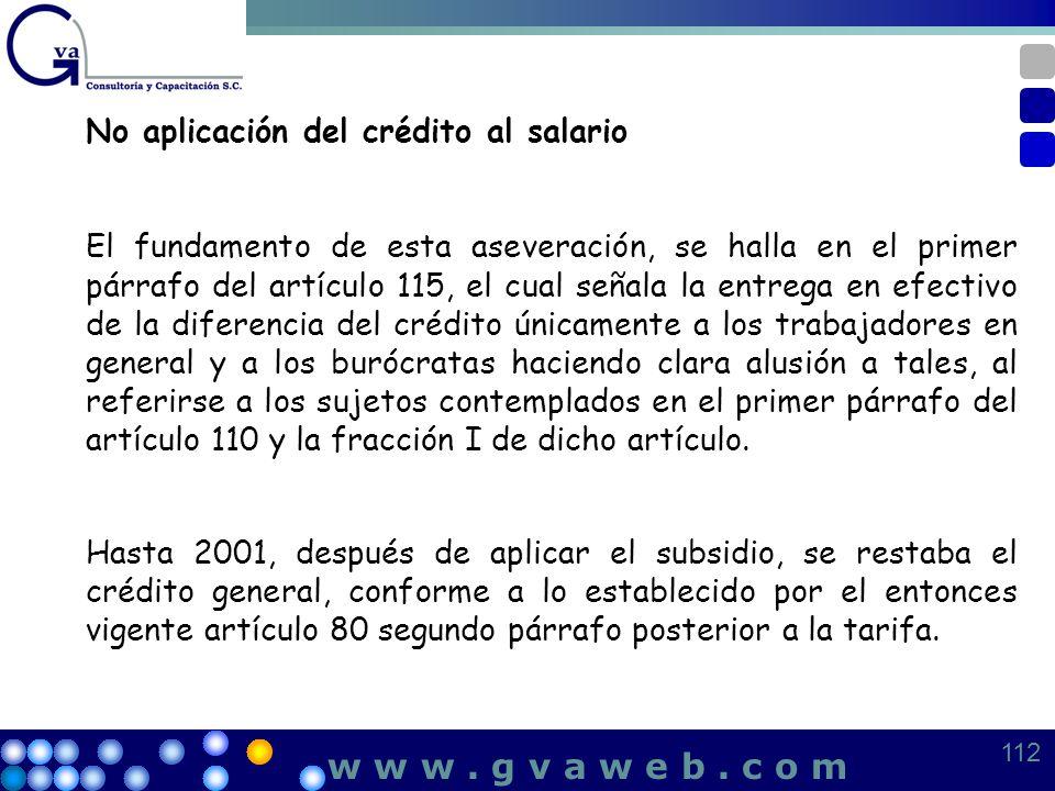 w w w . g v a w e b . c o m No aplicación del crédito al salario