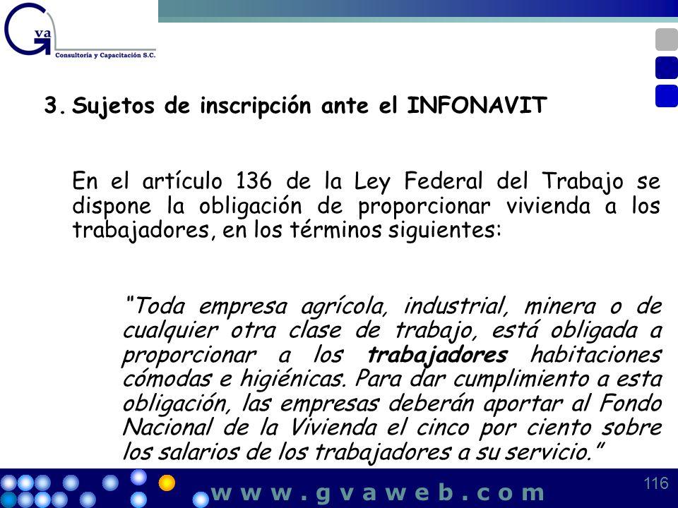 3. Sujetos de inscripción ante el INFONAVIT